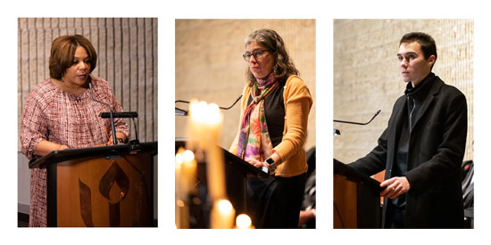 Photos of speakers at First Church Boston